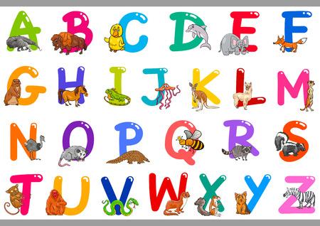 Ilustración de dibujos animados de coloridas letras del alfabeto de la A a la Z con personajes de animales felices