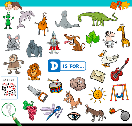Cartoon Illustration of Finding Picture Starting with Letter D Educational Game Workbook for Children