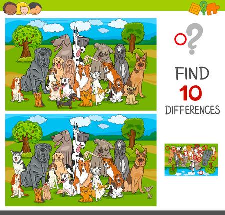 Cartoon-Illustration des Findens von zehn Unterschieden zwischen Bildern Lernspiel für Kinder mit reinrassigen Hunden Tierfiguren