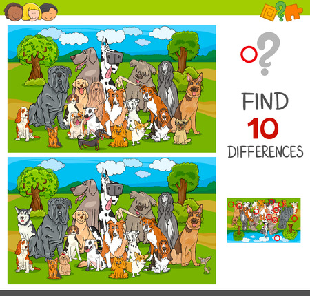 Cartoon Illustration of Finding Ten Differences Between Pictures Educational Game for Children with Purebred Dogs Animal Characters