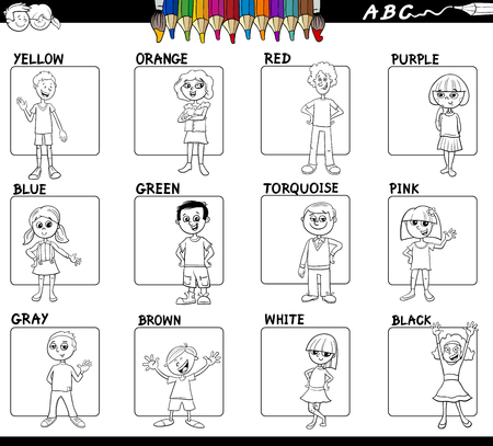 Black and White Cartoon Illustration of Basic Colors with Cute Children Characters Educational Set Color Book