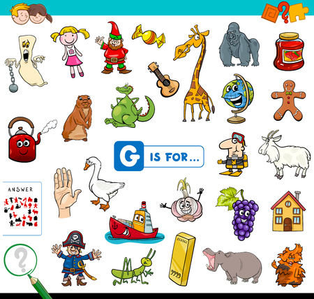 Cartoon Illustration of Finding Picture Starting with Letter G Educational Game Workbook for Children