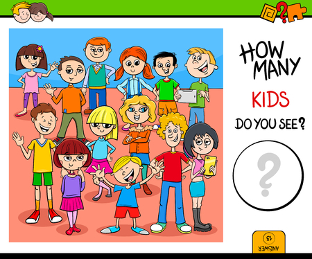 Cartoon Illustration of Educational Counting Activity Game with Children and Teen Characters
