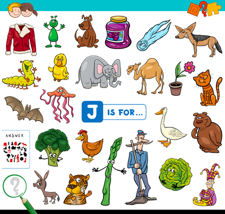 Cartoon Illustration of Finding Picture Starting with Letter J Educational Game Workbook for Children
