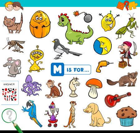 Cartoon-Illustration des Findens von Bildern, die mit dem Buchstaben M beginnen. Lernspiel-Arbeitsbuch für Kinder