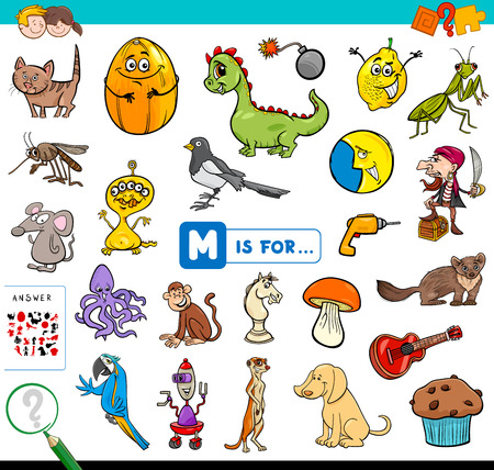 Cartoon Illustration of Finding Picture Starting with Letter M Educational Game Workbook for Children