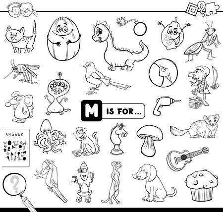 Schwarz-Weiß-Karikatur-Illustration des Findens von Bildern, die mit dem Buchstaben M beginnen Lernspiel-Arbeitsbuch für Kinder-Malbuch Vektorgrafik