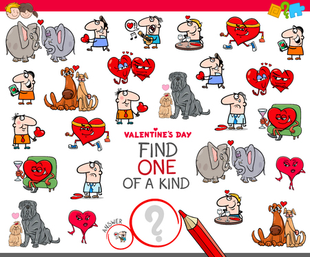 Cartoon Illustration of Find One of a Kind Clip Art Educational Game for Kids with Valentines Day Characters