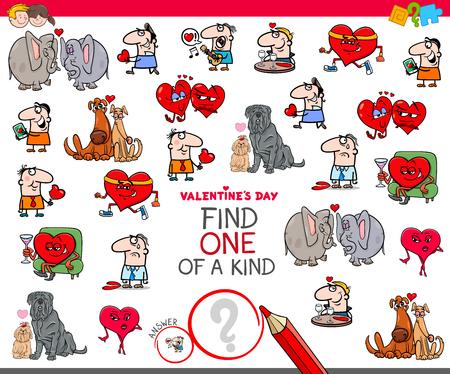 Cartoon-Illustration von Finden Sie ein einzigartiges Clip-Art-Lernspiel für Kinder mit Valentinstag-Charakteren