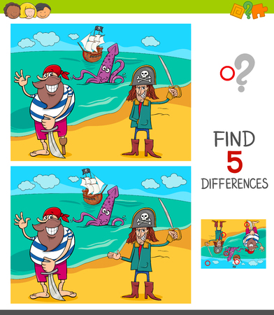 Cartoon Illustration of Finding Five Differences Between Pictures Educational Game for Children with Funny Pirates