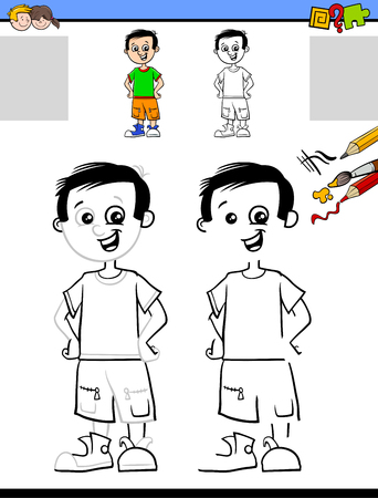Cartoon Illustration of Drawing and Coloring Educational Activity for Children with Cute Boy Character