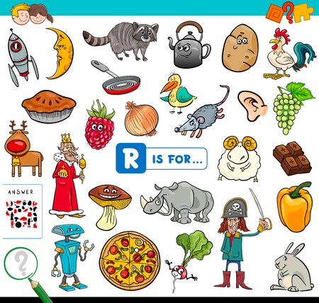 Cartoon Illustration of Finding Picture Starting with Letter R Educational Game Workbook for Children