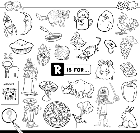 Black and White Cartoon Illustration of Finding Picture Starting with Letter R Educational Game Workbook for Children Coloring Book