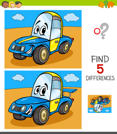 Cartoon Illustration of Finding Five Differences Between Pictures Educational Game for Children with Funny Racing Car Illustration