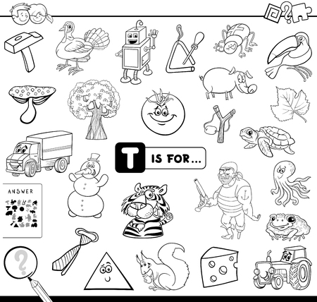 Black and White Cartoon Illustration of Finding Picture Starting with Letter T Educational Game Workbook for Children Coloring Book Vectores