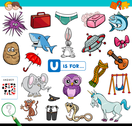 Cartoon Illustration of Finding Picture Starting with Letter U Educational Game Workbook for Children
