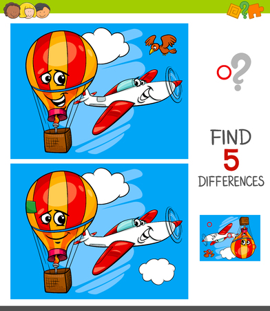 Cartoon Illustration of Finding Five Differences Between Pictures Educational Game for Children with Plane and Hot Air Balloon Illustration