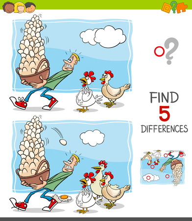 Cartoon Illustration of Finding Five Differences Between Pictures Educational Game for Children with Dont Put All your Eggs in One Basket Saying