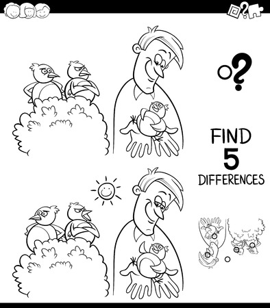 Black and White Cartoon Illustration of Finding Five Differences Between Pictures Educational Game for Children with A Bird in the Hand is Worth Two in the Bush Saying Coloring Book