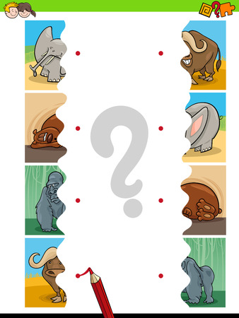 Cartoon Illustration of Educational Pictures Matching Game for Children with Jigsaw Puzzles of Animals 向量圖像