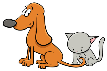Cartoon Illustration of Dog and Cute Little Kitten Pet Animal Characters