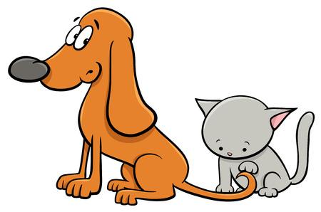 Cartoon Illustration of Dog and Cute Little Kitten Pet Animal Characters