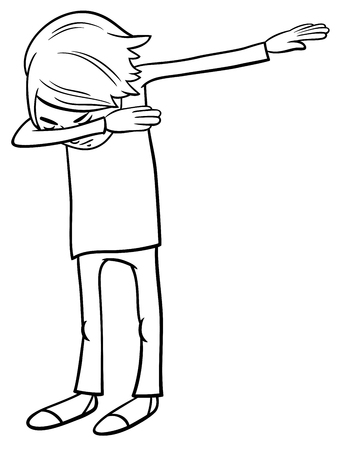 Black and White Cartoon Illustration of Elementary Age or Teenager Boy Character Doing Dab Coloring Book Vecteurs