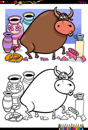 Cartoon Illustration of Funny Bull in a China Shop Coloring Book Activity