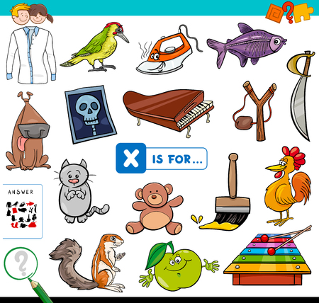 Cartoon Illustration of Finding Picture Starting with Letter X Educational Game Workbook for Children