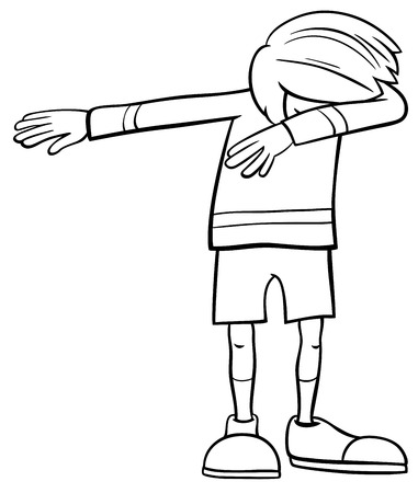 Black and White Cartoon Illustration of Elementary Age or Teenager Dabbing Boy Character Coloring Book