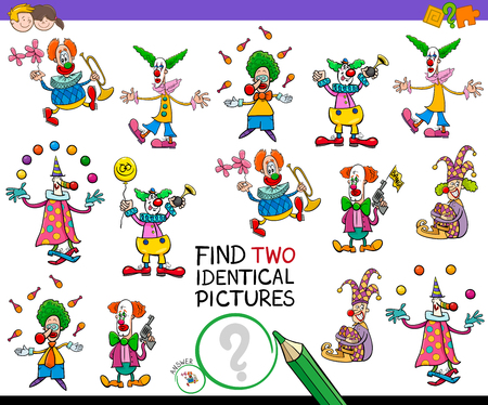 Cartoon Illustration of Finding Two Identical Pictures Educational Game for Childen with Funny Clown Characters