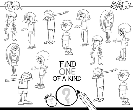 Black and White Cartoon Illustration of Find One of a Kind Picture Educational Activity Game with Kids and Teenager Characters Coloring Book