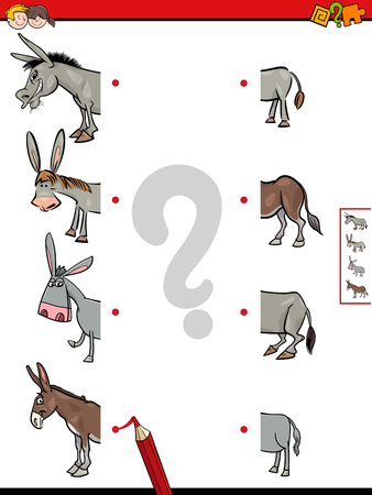 Cartoon Illustration of Educational Game of Matching Halves of Comic Donkeys Animal Characters Pictures