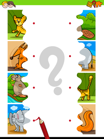 Cartoon Illustration of Educational Pictures Matching Game for Children with Jigsaw Puzzles of Funny Wild Animals 向量圖像