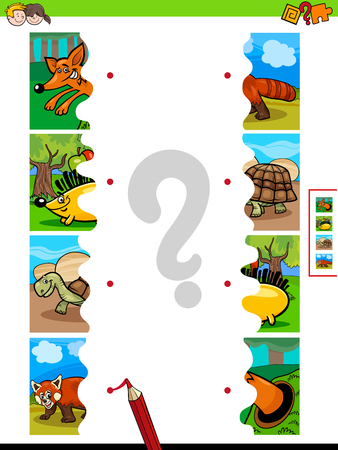 Cartoon Illustration of Educational Pictures Matching Game for Children with Jigsaw Puzzles of Funny Wild Animal Characters 向量圖像