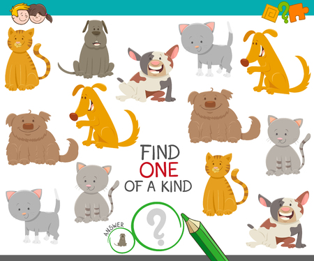 Cartoon Illustration of Find One of a Kind Picture Educational Activity Game with Cute Dogs and Cats Animal Characters Ilustrace