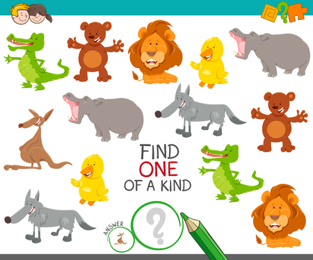 Cartoon Illustration of Find One of a Kind Picture Educational Activity Game with Cute Wild Animal Characters Ilustração