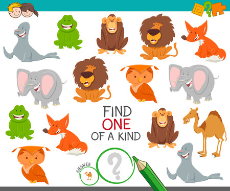 Cartoon Illustration of Find One of a Kind Picture Educational Activity Game with Funny Wild Animal Characters