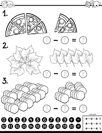Black and White Cartoon Illustration of Educational Mathematical Subtraction Puzzle Task for Children with Objects Coloring Book