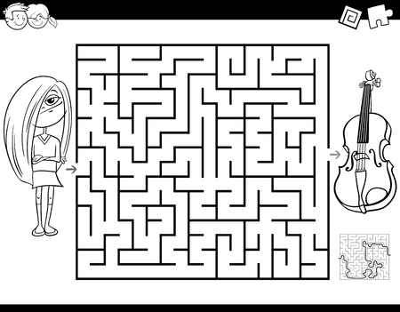 Black and White Cartoon Illustration of Education Maze or Labyrinth Activity Game for Children with Girl and Violin Musical Instrument Coloring Book