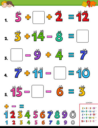 Cartoon Illustration of Educational Mathematical Calculation Page for Children