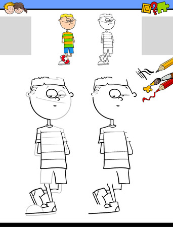 Cartoon Illustration of Drawing and Coloring Educational Activity for Children with Teen Boy Character