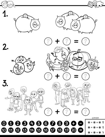Black and White Cartoon Illustration of Educational Mathematical Addition Calculation Puzzle Game for Preschool and Elementary Age Children Coloring Book