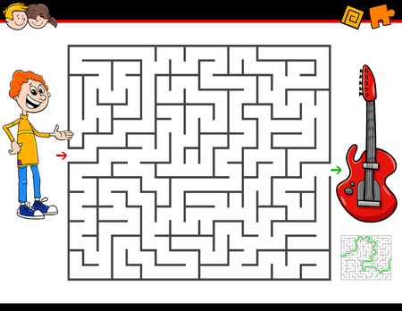 Cartoon Illustration of Education Maze or Labyrinth Activity Game for Children with Boy and Electric Guitar Musical Instrument