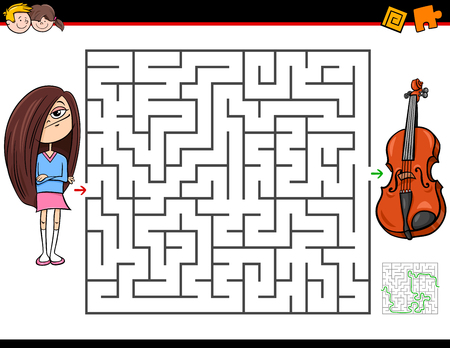 Cartoon Illustration of Education Maze or Labyrinth Activity Game for Children with Girl and Violin Musical Instrument Ilustrace