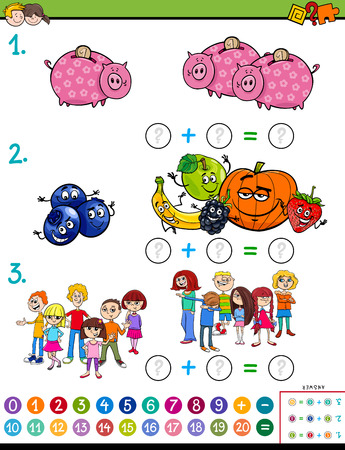 Cartoon Illustration of Educational Mathematical Addition Calculation Puzzle Game for Preschool and Elementary Age Children