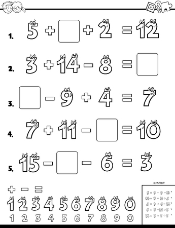 Black and White Cartoon Illustration of Educational Mathematical Calculation Page for Children Coloring Book