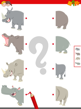 Cartoon Illustration of Educational Game of Matching Halves of Cute Hippos and Rhinos Animal Characters