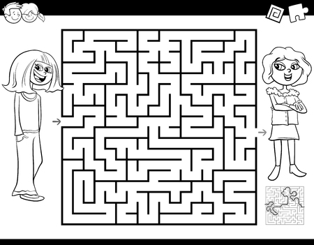 Black and White Cartoon Illustration of Education Maze or Labyrinth Activity Game for Children with Girl and Her Best Friend Coloring Book Ilustrace