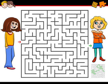 Cartoon Illustration of Education Maze or Labyrinth Activity Game for Children with Girl and Her Best Friend Ilustrace